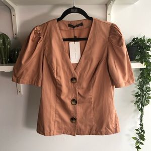🦎BOGO NWT ZARA puffy-sleeve button up blouse